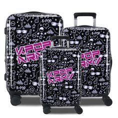 KPOP ARMY is the newest sensation to hit airports around the world! With a focus on increasing positivity and loving yourself, this luggage has a soft, trendy pattern across the body. Made from Polycarbonate/ABS material this luggage set is super light weight and easy to carry around. This luggage also comes with 360 multi-directional spinner wheels, pivoting on a dime for any tight corner! Hardside Luggage, Luggage Sets, Airports, Wheels, Army, Corner, Positivity, Kpop