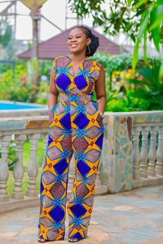 50 Pictures of The Latest Ankara Jumpsuit styles in 2018 African Maxi Dresses, African Fashion Ankara, Latest African Fashion Dresses, African Inspired Fashion, African Dresses For Women, African Print Fashion, African Attire, African Wear, African Prints