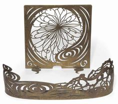 Art nouveau fire screen and fender