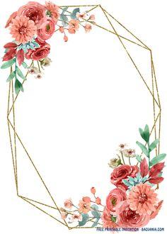 Free Printable Invitations Templates, Floral Printables, Templates Free, Free Printables, Flower Invitation, Invitation Card Design, Invitation Cards, Disney Invitations, Cadre Design