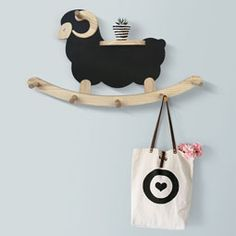 Decorative Wooden Wall Mount Sheep Hanger Hat Rack Coat Hooks Shelf