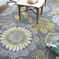 Amy Butler Hand Tufted Wool Rug Lacework Blue