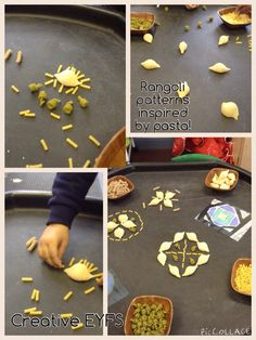 A few pictures of our Rangoli patterns inspired by pasta! Diwali Activities, Eyfs Activities, Bonfire Night Activities, Diwali And Holi, Diwali Lights, Crafts For Kids, Arts And Crafts, Rangoli Patterns, Diwali Celebration