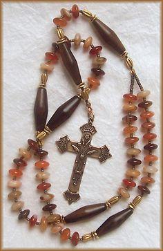 October Woods ~ Natural Carnelian and Ebony ~ Handmade Rosary ~ Beautiful ~