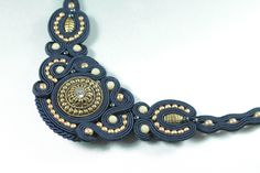 via Etsy. Soutache Necklace, Crochet Necklace, Earrings, Shibori, Beaded Embroidery, Swirls, Jewerly, Jewelry Making, Craft Ideas