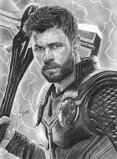 Original pencil portrait of Thor, size x cm) artwork portrait original print draw Avengers Drawings, Avengers Art, Marvel Art, Thor Marvel, Captain Marvel, Thor Drawing, Iron Man Drawing, Drawing Art, Drawing Ideas