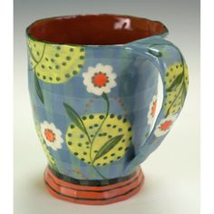 Medium Cup With Daisy and Spotted Moon by Nancy Gardner Ceramics