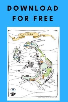 *Free Santorini Map* - One Quarter Greek Santorini Map, Red Beach, Like A Local, Greek, Black And White, Learning, Illustration, Blog, House