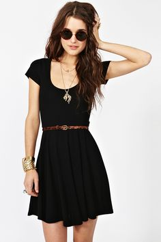 Skater Dress and round black sunglasses . Add tall black knee socks for a fall look