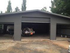 Custom Ultraspan shed in Orange. Built by Kieren Lee Plumbing & Construction 0428690696 Pole Barn Garage, Garage Shed, Garage House, Pole Barns, Garage Workshop, Garage Doors, Generator Shed, 8x12 Shed Plans, Yard Sheds