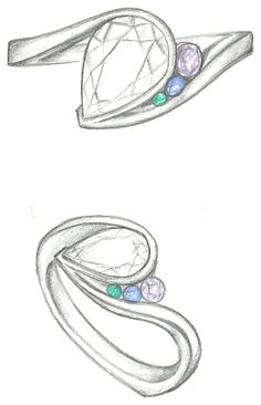 Mark Schneider Design - Escape with pear cut diamond center and tsavorite, sapphire, and amethyst accents