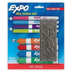Expo® Assorted Point Size Dry Erase Markers and Eraser 10ct