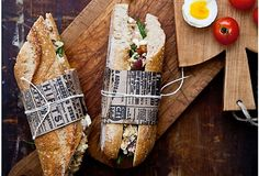 use cooking twine and kraft paper to serve sandwiches in style