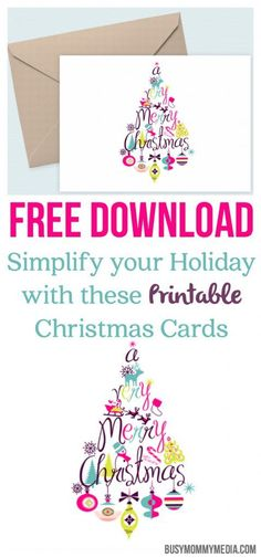 Free Download: Simplify your Holiday with these Printable Christmas Cards - What cute Christmas cards! These are so easy too!