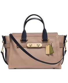 Coach Swagger In Colorblock Pebble Leather (Light Gold Stone) 136fb8d5906ea