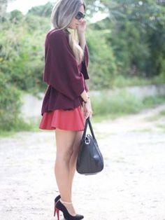 monicasors Outfit  leather oxblood  Otoño 2012. Combinar Jersey Rojo Granate Lulus, Cómo vestirse y combinar según monicasors el 11-11-2012