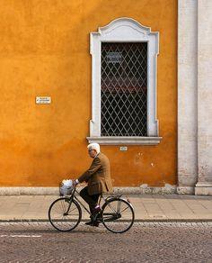 Cyclist in Ferrara, Italy