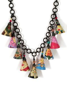 Recycled Tin Necklace with Cones by Emily Hickman, Tin Moon Jewelryworks. www.tinmoonjewelryworks.com. Vintage style boho necklace.