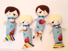 Pirate Merbaby Baby Doll Boy Doll Rag Doll Cloth by LittleLuckies2, $30.00