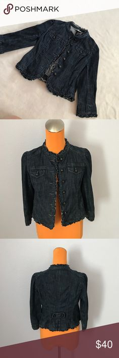 """Ann Taylor Loft Indigo Ruffle Cropped Jean Jacket 19.5"""" length 16"""" armpit to armpit. Is a dark Indigo color jean heavier. Has ruffle detailing on bottom of sleeves and up the front near buttons. Cropped style. Ruffle detailing on collar. Excellent condition. Bundle 2+ items for a discount LOFT Jackets & Coats Jean Jackets"""