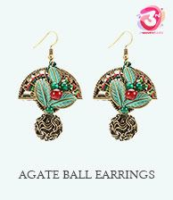 Sector Agate Ethnic Earring