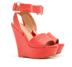 @Sole Society - Phebe Q-Strap Wedge in Coral.