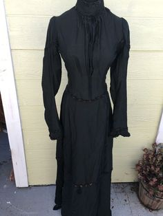"""This is a beautiful two piece dress from the 1800s. All the boning and Jet trim on the Jacket is in tacked the Measurements are below Waist 24""""-26"""". 