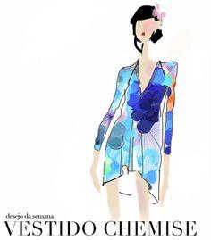 Vestido Chemise, Dress, Estampa, Ilustração