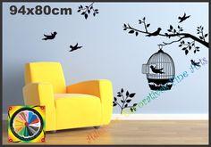 Adesivos gaiola pássaros e galhos | Adesivos Decorativos Fine Arts | Elo7
