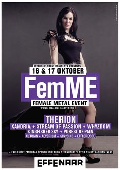 Effenaar   Agenda   FemME: Therion + Xandria + Stream of Passion + Whyzdom + Kingfisher Sky e.a.