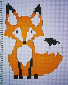 This drawing would be a great to use for knit or crochet This drawing is great for knitting or croch Graph Paper Drawings, Graph Paper Art, Cute Drawings, Mens Crochet Beanie, Knit Or Crochet, Pixel Drawing, Fox Drawing, Modele Pixel Art, Knitting Charts