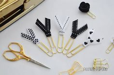 NEW: Black & White on Gold Ribbon Set Planner Paper Clips for Your Erin Condren Filofax Kikki K Happy Planner