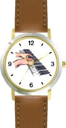 Pianist Hands Playing Piano Classical Musician 1 - WATCHBUDDY® DELUXE TWO-TONE THEME WATCH - Arabic Numbers - Brown Leather Strap-Size-Children's Size-Small ( Boy's Size & Girl's Size ) WatchBuddy. $49.95