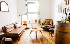 MOVING SALE | Mid Century Brown Vinyl Couch in Bedford-Stuyvesant, New York ~ Krrb Classifieds