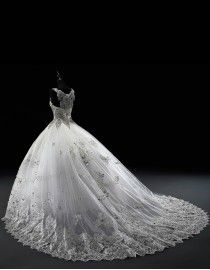 Luxurious royal gorgeous fabulous sweetheart swarovski beaded accent lace appliques ball gown chapel train wedding dress  5W-022