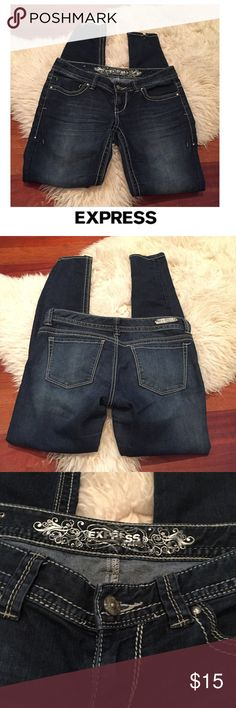 Express Dark Wash Low Rise Skinny Jeans Express Dark Wash Low Rise Skinny Jeans. 7.5 inch rise, low rise. 32 inch inseam. Small slit designed on the back of the Jeans- see photos. Gently worn. Great condition. Feel free to make an offer or bundle & save! Express Jeans Skinny