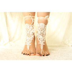 White Lace Barefoot Sandals, NudeShoes, Foot Jewelry,Beach Wedding... ❤ liked on Polyvore featuring shoes, sandals, beach shoes, lace shoes, bridal shoes, bridal sandals and bride sandals