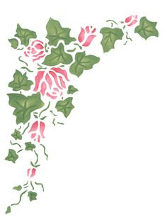 This Large Rose Ivy Wall Stencil Flows In A Gentle Way Around Your Use The Matching Corner If You Wish