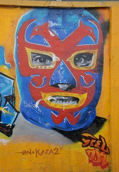 Dos Caras - Lucha Libre Mural Oaxaca Mexico