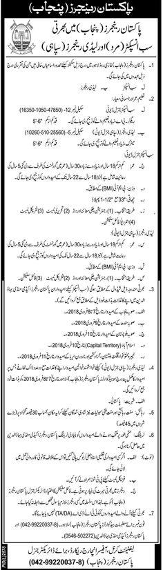 Pakistan Rangers Announced Latest Jobs 22 Jan 2018