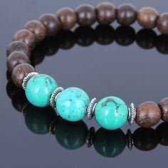 Red Agarwood & Enhanced Turquoise Healing Gemstone Bracelet with Tibetan Silver Spacers - Handmade by Gem & Silver AWB031