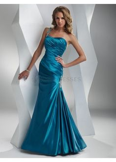 cheap prom dresses Slinky satin fabric with jeweled one-shoulder strap mermaid evening dress on sale,cheap wedding dresses