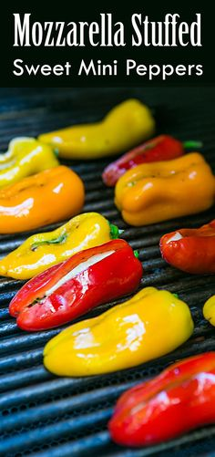 These sweet mini peppers are stuffed with smoked mozzarella cheese and basil. Grill, bake, or broil. So easy! A real crowd pleaser. Great as a side for chicken or pork too. (Grilled Cheese For A Crowd) Mini Sweet Peppers, Stuffed Mini Peppers, Mozzarella, Grilling Recipes, Cooking Recipes, Smoker Recipes, Mini Paprika, Grill Dessert, Grilled Peppers