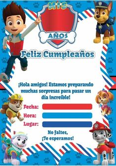 Paw Patrol Printable Invitation – Ideas for Children's Parties, For Women Men 15 years and Weddings rnrnSource by dicacr Paw Patrol Birthday Cake, Paw Patrol Cake, Paw Patrol Party Invitations, Printable Invitations, Paw Patrol Decorations, Lego, Barbie, Childrens Party, Diy Party