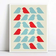 Birds Mid century print poster retro print poster by angelaferrara, $17.99