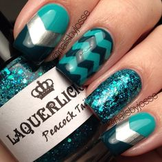 Chevron nails. Green. Turquoise. Nail art. Nail design. Polishes. Instagram by nailsbyjosse