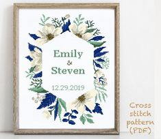 Wedding Cross Stitch Patterns, Modern Cross Stitch Patterns, Cross Stitching, Cross Stitch Embroidery, Alphabet And Numbers, Needlepoint, Wedding Gifts, Birth, Pattern Design