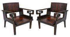 French Colonial Greek Key armchairs c.1946