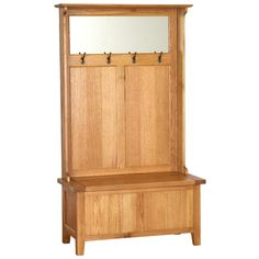 Vancouver Oak Petite Storage Unit With Coat Racks & Mirror