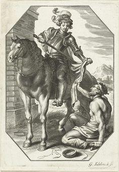 Gerard Edelinck | Martinus van Tours, Gerard Edelinck, 1652 - 1707 | Martinus van Tours snijdt een deel van zijn mantel af terwijl hij op zijn paard zit. Op de grond zit een bedelaar.